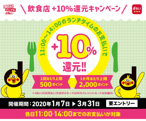 d払い飲食店10%還元キャンペーン