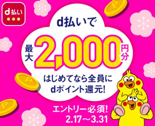 d払い初めてのご利用で2000円プレゼントキャンペーン