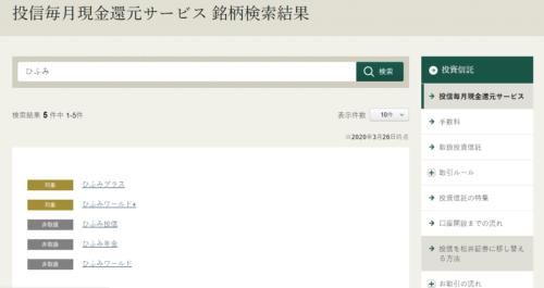松井証券対象投信検索画面