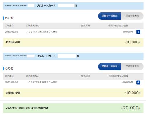 リクルートカード2万円還元
