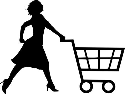 ショッピングカートを押す女性