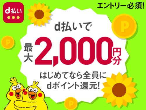 初めてd払い2000円